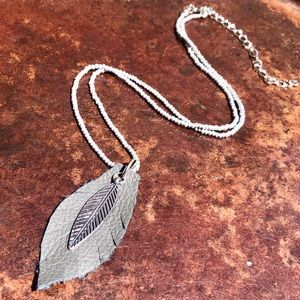 Jewelry - Silver Leaf Leather and Beaded Necklace